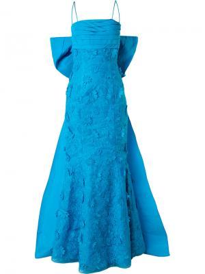 Вечернее платье со шлейфом Bambah. Цвет: синий