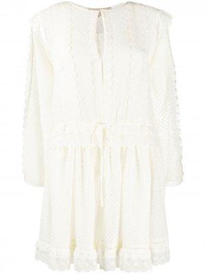Платье-трапеция длины мини с вышивкой Twin-Set. Цвет: белый