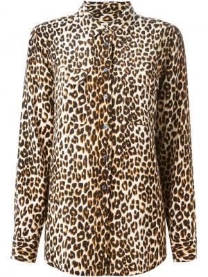 Рубашка с леопардовым принтом Equipment. Цвет: нейтральные цвета