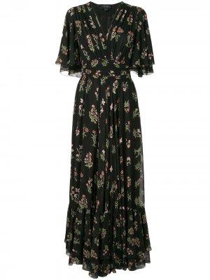 Плиссированное платье с цветочным принтом Giambattista Valli. Цвет: черный