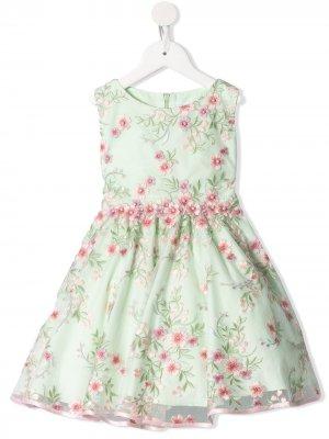 Платье с цветочной вышивкой Lesy. Цвет: зеленый