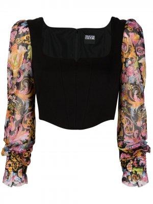 Топ-корсет с принтом Versailles Versace Jeans Couture. Цвет: черный
