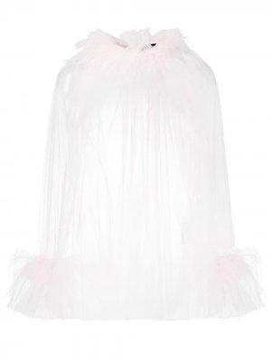 Драпированная блузка с перьями Styland. Цвет: розовый