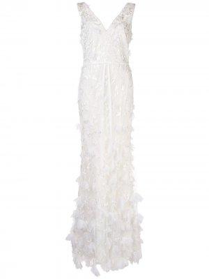 Платье из тюля с оборками Marchesa Notte. Цвет: белый
