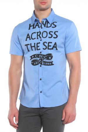 Рубашка коротким рукавом CNC Costume National C'N'C. Цвет: голубой