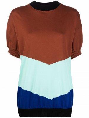 Блузка в стиле колор-блок Plan C. Цвет: коричневый