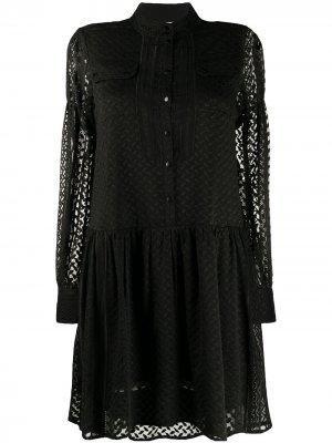 Платье с длинными рукавами и вышивкой Lala Berlin. Цвет: черный