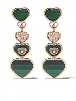 Золотые серьги Happy Hearts с бриллиантами Chopard. Цвет: розовый