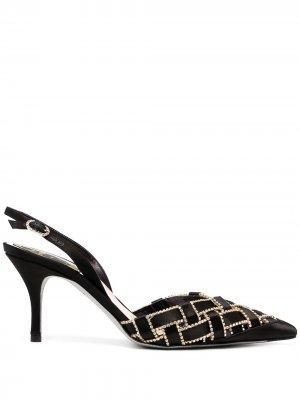 Декорированные туфли René Caovilla. Цвет: черный
