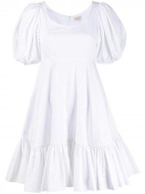 Короткое платье с пышными рукавами Alexander McQueen. Цвет: белый