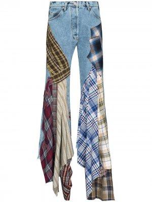 Расклешенные джинсы в технике пэчворк Natasha Zinko. Цвет: синий
