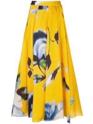 Юбка А-силуэта с цветочным принтом Carolina Herrera. Цвет: желтый