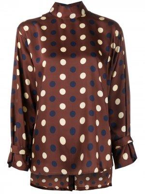 Блузка с воротником-воронкой и геометричным принтом Jejia. Цвет: коричневый