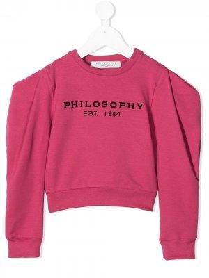 Свитер с драпировкой на плечах Philosophy Di Lorenzo Serafini Kids. Цвет: розовый