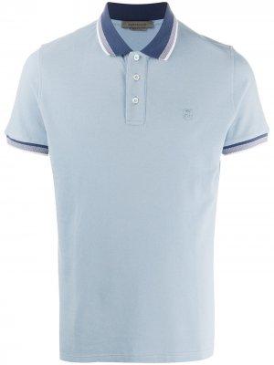 Рубашка поло с вышитым логотипом Corneliani. Цвет: синий