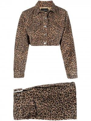 Костюм с юбкой и леопардовым принтом Manokhi. Цвет: коричневый