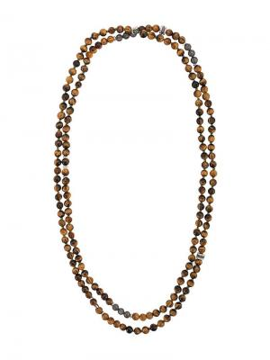 Mesh beaded necklace Tateossian. Цвет: коричневый