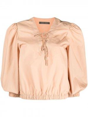 Блузка с завязками на воротнике Alberta Ferretti. Цвет: розовый