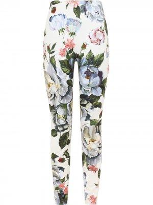 Легинсы с цветочным принтом Dolce & Gabbana. Цвет: белый