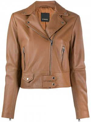Приталенная байкерская куртка Pinko. Цвет: коричневый