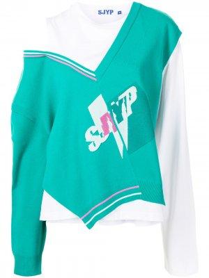 Толстовка асимметричного кроя SJYP. Цвет: зеленый