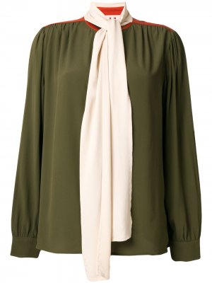 Блузка с контрастным бантом Marni. Цвет: зеленый
