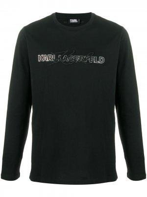 Толстовка с длинными рукавами и логотипом Karl Lagerfeld. Цвет: черный