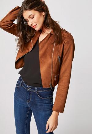 Куртка кожаная Morgan. Цвет: коричневый