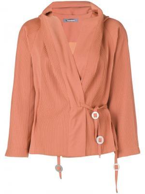 Куртка с завязкой на поясе Issey Miyake Pre-Owned. Цвет: желтый