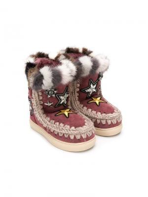 Сапоги Eskimo с меховой оторочкой Mou Kids. Цвет: красный