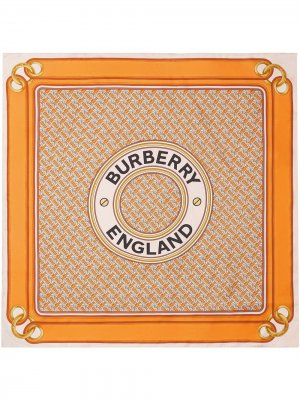 Платок с принтом Burberry. Цвет: оранжевый