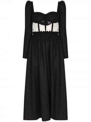 Платье миди с вырезом в форме сердца Rosie Assoulin. Цвет: серый