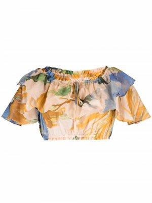 Укороченная блузка с оборками и цветочным принтом TWINSET. Цвет: оранжевый