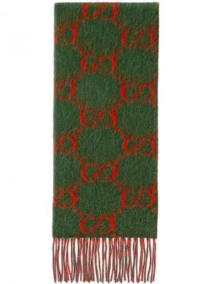 GG alpaca wool scarf Gucci. Цвет: зеленый