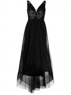 Декорированное платье асимметричного кроя Marchesa Notte. Цвет: черный