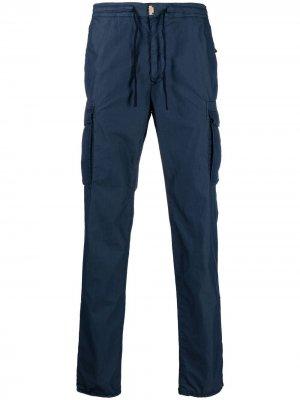 Зауженные брюки карго Incotex. Цвет: синий