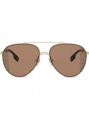 Солнцезащитные очки-авиаторы Burberry Eyewear. Цвет: золотистый