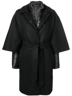 Однобортное многослойное пальто Fay. Цвет: черный