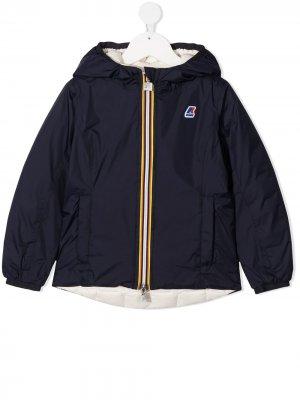 Куртка с капюшоном и нашивкой-логотипом K Way Kids. Цвет: синий
