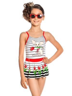 Купальник слитный для девочек Arina Festivita. Цвет: черный, белый, красный