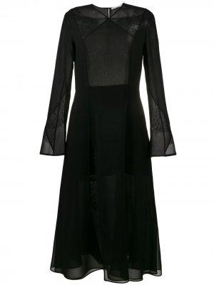 Шифоновое платье миди Olivier Theyskens. Цвет: черный