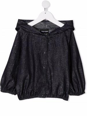 Джинсовая куртка с капюшоном Emporio Armani Kids. Цвет: синий