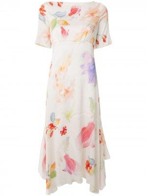 Платье с асимметричным подолом и цветочным принтом Peter Pilotto. Цвет: разноцветный