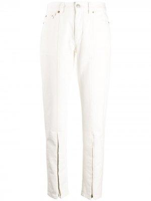 Зауженные брюки с молнией MM6 Maison Margiela. Цвет: белый