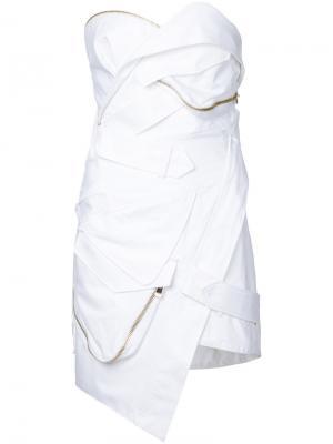 Мини-платье бюстье Alexandre Vauthier. Цвет: белый