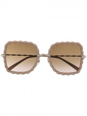 Солнцезащитные очки в массивной оправе с фестонами Elie Saab. Цвет: нейтральные цвета