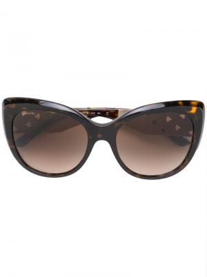 Солнцезащитные очки кошачий глаз Bulgari. Цвет: коричневый