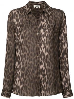 Рубашка с леопардовым принтом L'agence. Цвет: зеленый