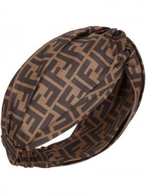Повязка на голову с узором FF Fendi. Цвет: коричневый