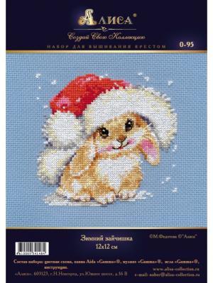 Набор для вышивания Зимний зайчишка  12х12 см Алиса. Цвет: белый, голубой, красный, розовый, светло-коричневый